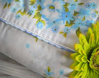 Charming Vintage Linen - Double Flat Sheet - Shabby Chic Blue Floral