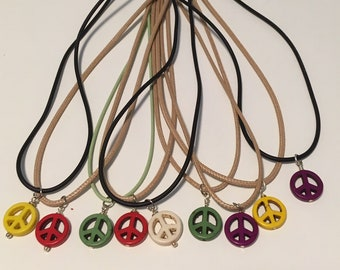 Destashing!  9 Peace Sign Charms on Cord Necklaces with Extension Chains, Peace Signs, Hippie Jewelry, Boho Jewelry, Peace Necklaces