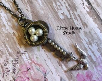 Bird Nest Key Pendant, Bird Nest Necklace, Bird Nest, Vintage Key Necklace, Statement Necklace, Mothers Day, Pendants, Pearl Eggs