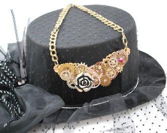 Steampunk Gear Bib Necklace, Gear Bib Necklace, Assemblage Necklace, Steampunk Necklace, Steampunk Assemblage, Steampunk Jewelry, Steampunk