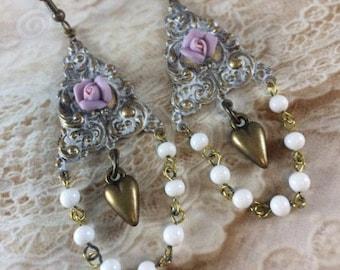 Chandelier Earrings, Bridal Earrings, Statement Earrings, Porcelain Rose, Rosary Beads, Gift for Her, Mothers Day Gift, Vintage Earrings