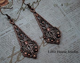 Victorian Earrings, Copper Victorian Earrings, Dangle Earrings, Victorian Jewelry Victorian Dangle and Drop, Victorian Jewelry, Victorian