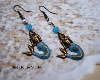Mermaid Earrings, Mermaid Jewelry, Mermaids, Jewelry Mermaids, Silver Mermaid Earrings, Mermaid Charms, Sea Earrings, Mermaid Charm