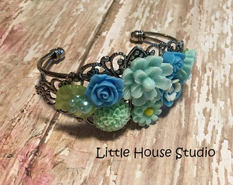 Shades of Blue Floral Bracelet, Flower Cuff, Cuff Bracelet, Blue Flower Bracelet, Floral Bracelet, Bouquet Bracelet, Botanical Jewelry