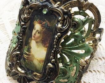 Victorian Cuff, Ornate Cuff, Victorian Portrait, Brass Cuff, Scroll Cuff, Green Rhinestone, Green Crystals, Large Cuff,