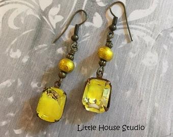 Large Yellow Rhinestone Earrings, Yellow Earrings, Rhinestone Earrings, Beaded Earrings, Rhinestone Dangles, Sunflower Yellow, Rhinestone
