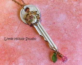 Key Necklace, White Key Necklace, Upcycled, Rose Cameo Necklace, Vitage Key, Key Charm, Vintage Key, Key Charm, Key Pendant, Key