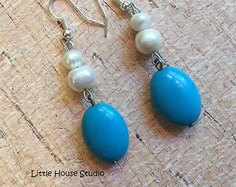 Turquoise Dangle and Drop Earrings with Fresh Water Pearls, Turquoise Jewelry, Fresh Water Pearls, Pearl Drop Earrings, Pearl Earrings