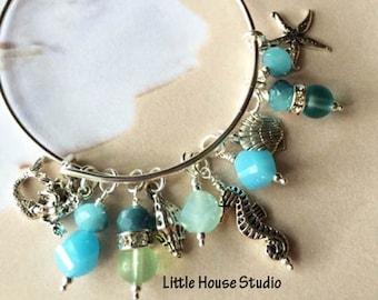 Beach Bracelet, Adjustable Bangle Bracelet, Seashell Charm Bracelet, Seahorse Bracelet, Starfish Bracelet, Mermaid Bracelet