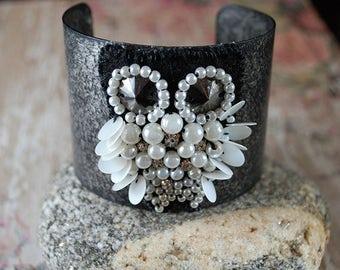 Owl, Owl Bracelet, Cuff Bracelet, Owl Jewelry, Handmade, Steampunk Owl, Boho, Gift for Her, Bird, Statement Cuff, Bird, Adjustable Bracelet