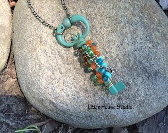 Skeleton Key Pendant, Skeleton Key Jewelry, Bead Wrapped Jewelry, Skeleton Key, Bead Wrapped, Patina Skeleton Key, Gift for Her, Patina