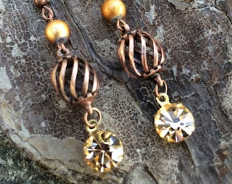 Copper Cage, Rhinestone, Copper Cage Earrings, Victorian Cage, Spectra Beads, Gifts for Her, Dangles and Drops, Victorian Jewelry