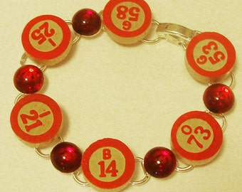 Vintage Bingo Bracelet with Red stones