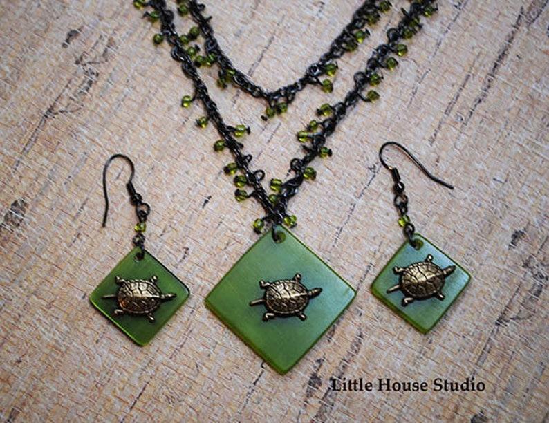 Turtle Jewelry Necklace Set Turtle Earrings Tortoise Necklace Turtle Pendant Sea Turtle Necklace Turtle Necklace Sea Turtle