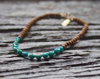 Turquoise gemstone bracelet, Sandalwood bracelet, turquoise gold bracelet, layering bracelet, sandalwood beaded bracelet, stacking bracelet