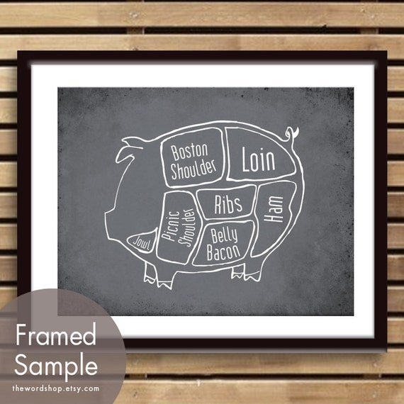 Pork Butcher Diagram Of A Pig Art Print Featured In Etsy