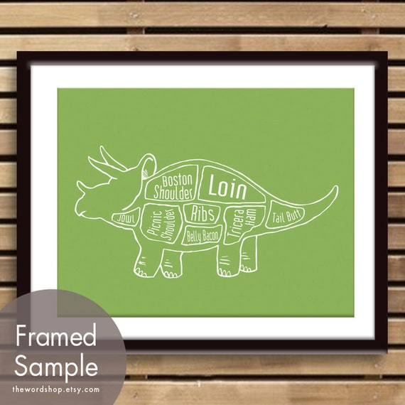 Triceratops Dinosaur Butcher Diagram Art Print Featured In Etsy