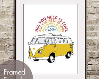 Beatles Song - All You Need is Love - ART Print (Featured in Yellow - C) (Hippie Love Bus) Buy 3 and get 1 Free