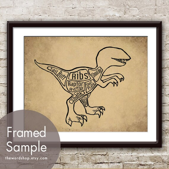 Velociraptor Aka Raptor Dinosaur Butcher Diagram Art Etsy