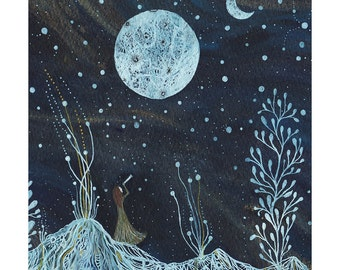 Moon Art // Night Sky // Fine Art Print // Emma & the valley of two moons