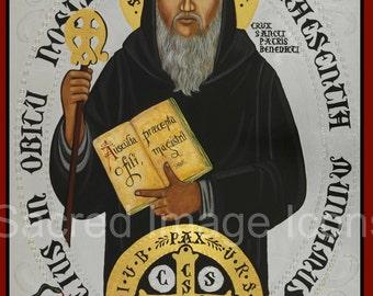 Saint Benedict Ready to Frame Print, Catholic Art, 8x10,  11x14, 16x20, 20x30