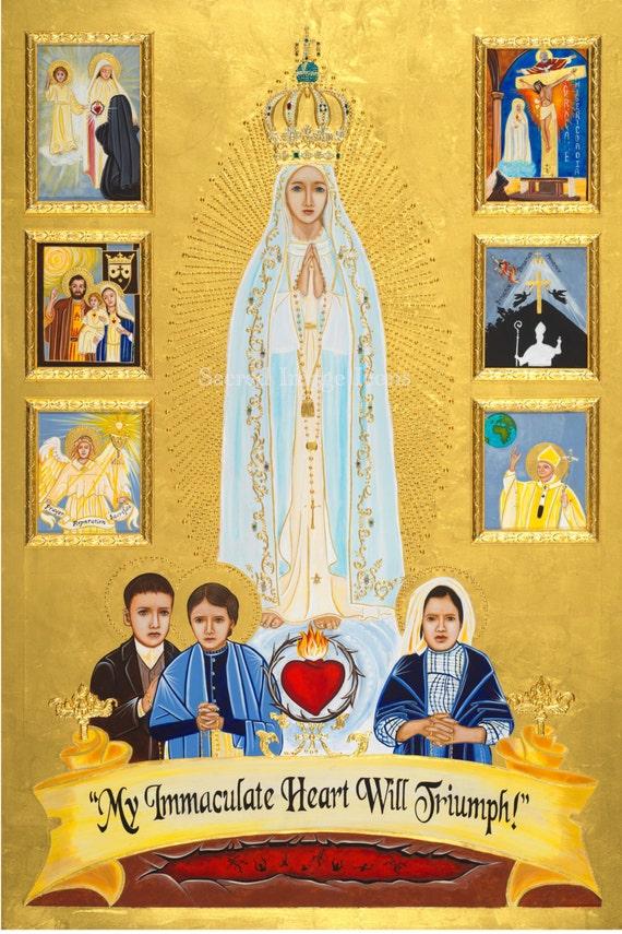 Nuestra Señora de Fátima listo para marco de imprimir desde el | Etsy