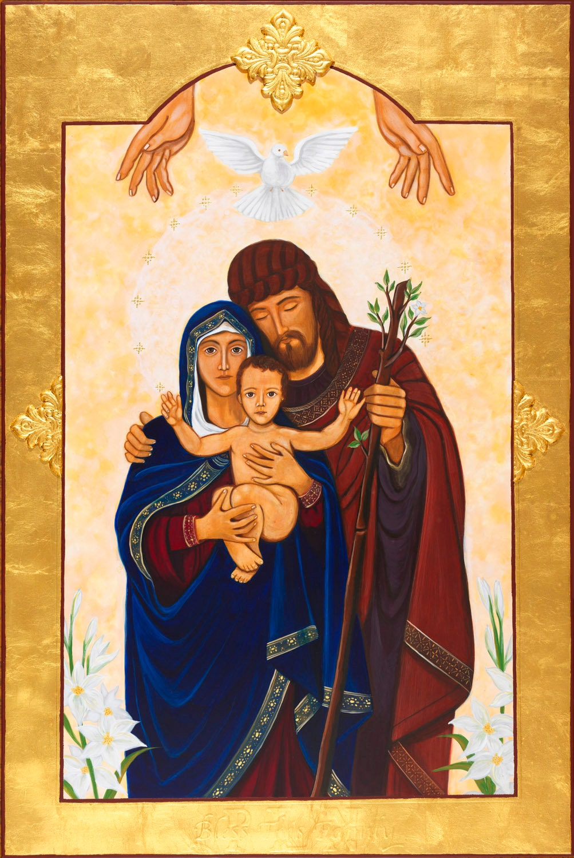 The Holy Family Icon Ready To Frame Print Catholic Art