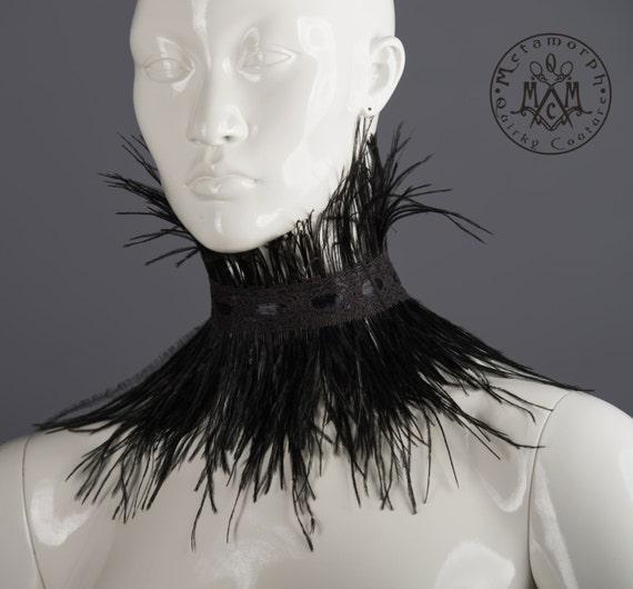 Black Feather Choker high Collar Under Chin Neck corset  Steampunk Corset tribal