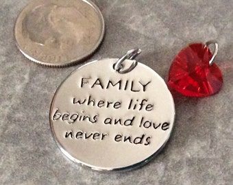 1 FAMILY where life begins and love never ends sentimental pendant, red heart charm, family necklace, life begins jewelry