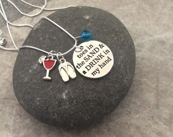 """1 - """"Toes in the sand and drink in my hand"""" Pendants, 4 piece charm pendant, flipflop charm, margarita charm, beach pendant, travel necklace"""