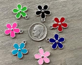 Sterling Silver Pink Enamel Oval Flower Locket Pendant Semi-Solid Pink Pendants /& Charms Jewelry