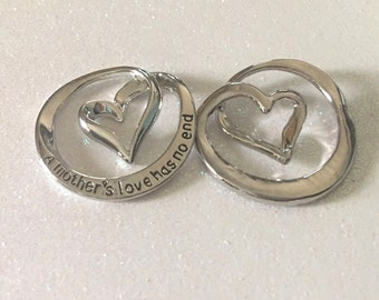 1 - A Mothers Love has no End Pendant, Heart Pendant, Mother Necklace, Stamped Pendant, Mothers Day Gift