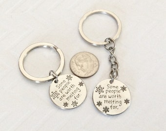 1 - Some People are Worth Melting For keychain, Winter key ring, snow keychain, can personalize with birthstones or initials