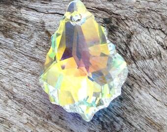 1 - Large AB Swarovski Briolette Pendant or Charm, sparkling necklace, front to back drilled, sparkling facets
