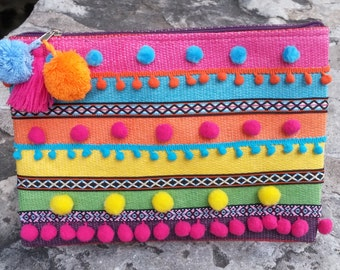 Y.O.L.O Colourful handbag, pom pom handbag, happy handbag,  straw  handbag,  boho handbag