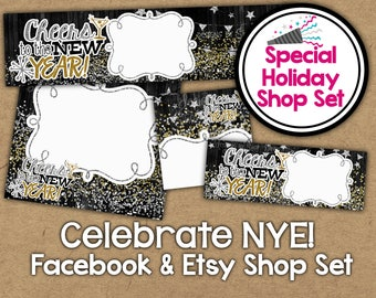 2018 etsy banner set new years shop banner holiday facebook shop graphics nye shop banner 2018 glitter etsy banner shop set