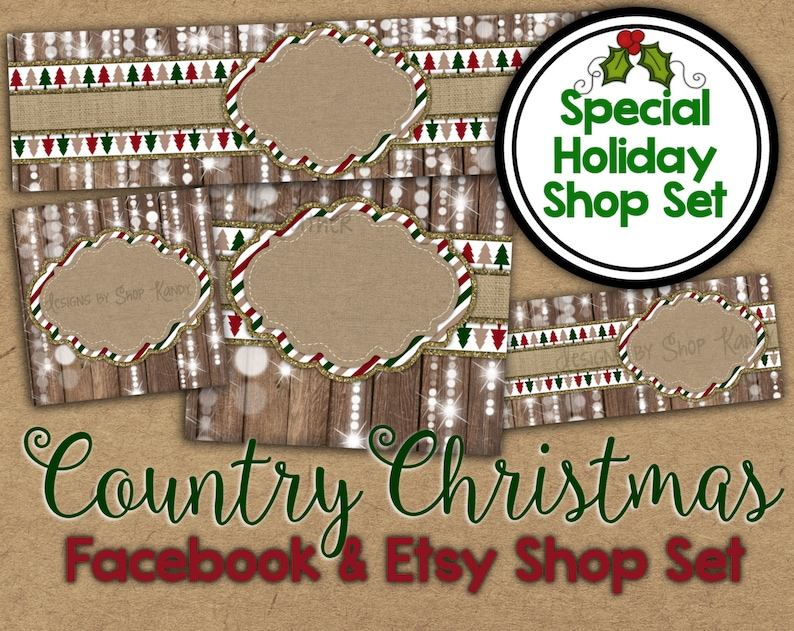 dfe953f600860 Country Christmas Etsy Banner Set - Christmas Shop Banner - Holiday  Facebook Graphics - Christmas Shop Banner - Holiday Etsy Banner Shop Set