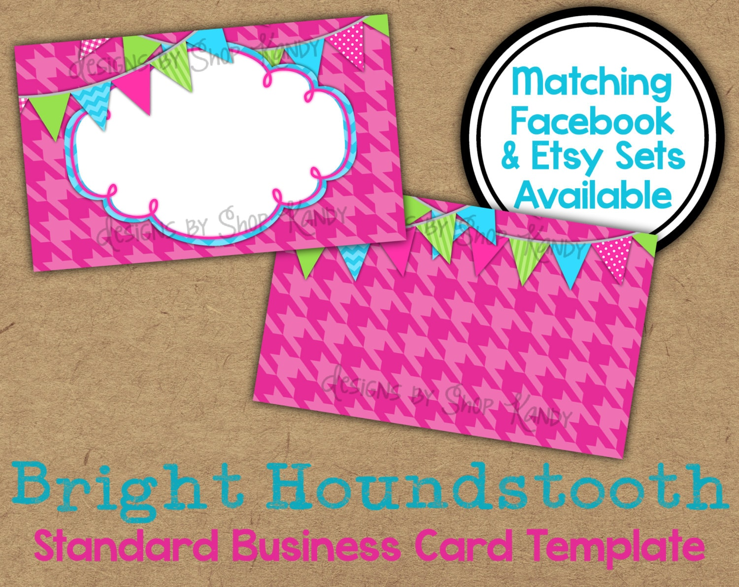 Pink business card 2 sided pink houndstooth business card etsy zoom wajeb Choice Image