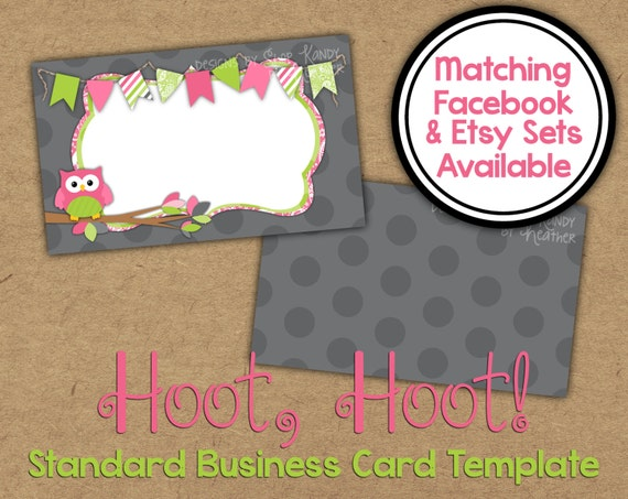 Owl Business Card 2 Sided Gray Pink Lime Business Card Vista Print Business Card Template