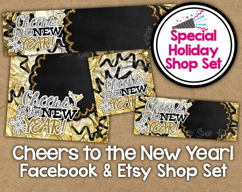4fd0d9e1e1d54 New Year Etsy Shop Banner Set - Gold 2018 Shop Banner - Holiday Facebook  Shop Graphics - NYE Shop Banner - 2018 New Year Glitter Etsy Set
