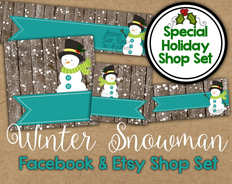 5eda98964d322 Christmas Etsy Banner Set - Winter Snowman Shop Banner - Holiday Facebook  Shop Graphics - Christmas Banner - Snowman Etsy Banner - Facebook