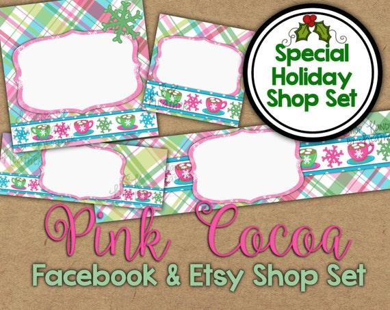 Snowflake Etsy Banner Set - Winter Shop Banner - Holiday Facebook Shop Graphics - Pink Christmas Banner  - Holiday Etsy Banner - Facebook