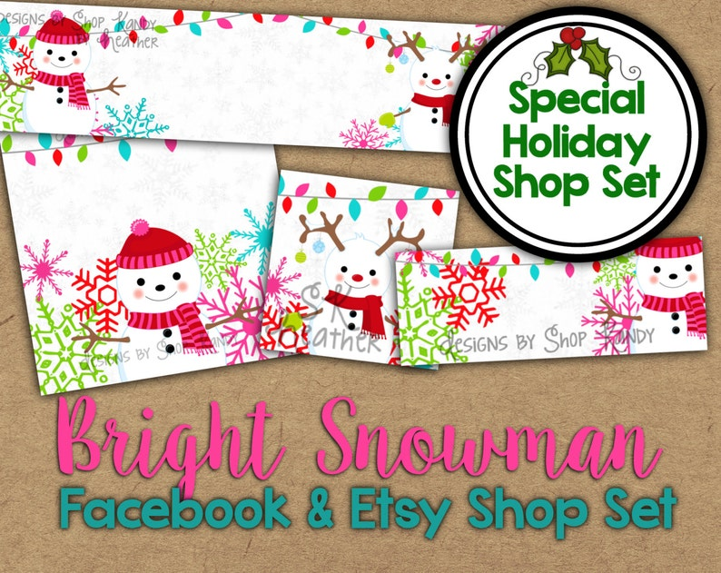 6503f4831363b Christmas Etsy Banner Set - Snowman Shop Banner - Holiday Facebook Shop  Graphics - Christmas Shop Banner - Snowman Etsy Banner Shop Set