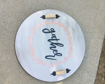 Wooden handpainted lazy susan