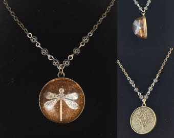 Dragonfly in amber - Resin Pendants - Tree of Life - Outlander Inspired-Outlander Jewelry-Celtic Necklace-Brass Chain