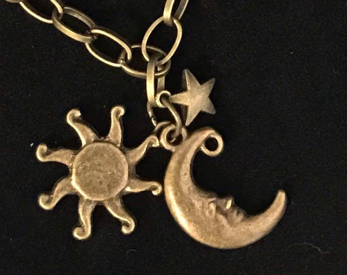 Sun moon star~brass bracelet~Game of Thrones~GOT~inspired