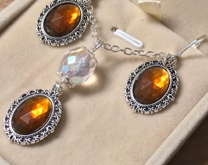 Topaz Jewelry Set - Smokey Topaz Earrings - Smokey Topaz Necklace - Antique Jewelry