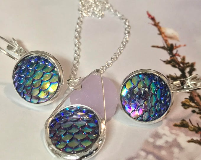 Mermaid Jewelry Set~ Silver Earrings~Silver Necklace~Aqua Scale Earrings~Sparkle Earrings~Mermaid Necklace~Resin Jewelry Set