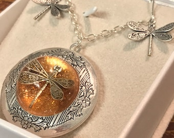 Silver Locket-Dragonfly in Amber-Photo Locket-Silver Pendant-dragonfly locket