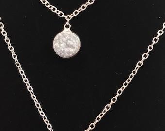 Silver Drusy Jewelry Set~ Silver Earrings~Silver Necklace~silver Drusy Earrings~Sparkle Earrings~Drusy Necklace~Resin Jewelry Set